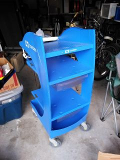 Heavy duty work cart with 2 drawers large OFF road wheels with brakes 5 shelves