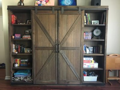 Wood Farmhouse Barn Door Bookcase-Moving Sale