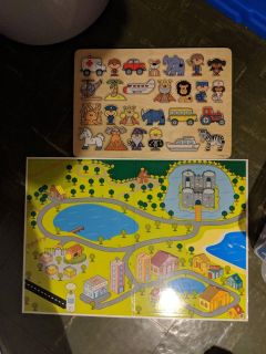Wooden puzzle w/ board play mat