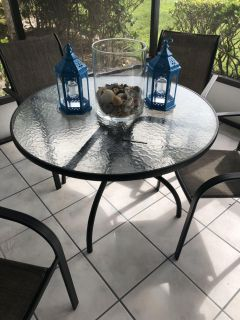 Glass top patio table. Free