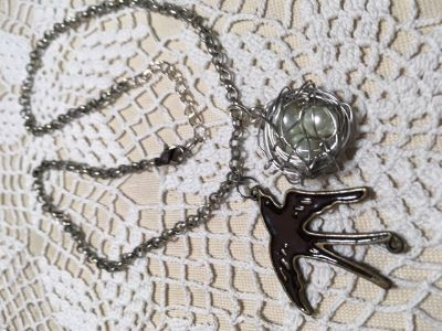 Vintage Necklace Silver Birds Nest with Pearl Eggs and Bronze Bird Pendants