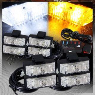 Buy 8 LED White & Amber Emergency Warn Hazard Grill Flash Strobe Light Universal 2 motorcycle in Walnut, California, United States