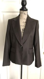 NINE WEST Women's Blazer 1-Button Jacket Career Brown Fully Lined Size 6