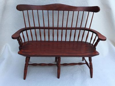 Doll Furniture Large Wood Loves Seat or Settee Windsor Style for American Girl Dolls, Other Dolls, Bears