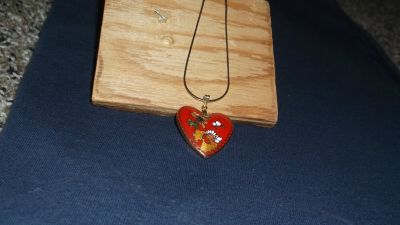 RED ENAMEL HEART WITH GOLD CHAIN