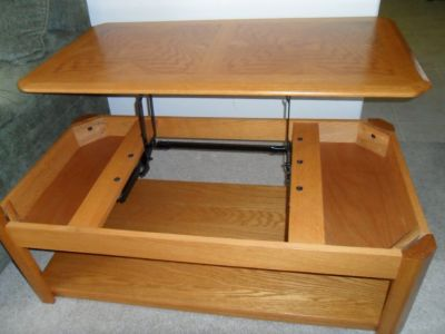 Oakwood Coffee Table 2-Level with Hidden Storage