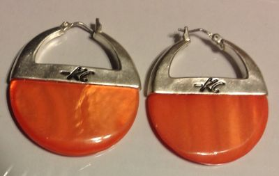 Orange and silver KC earrings