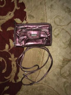 Purple clutch w/ attachable handle