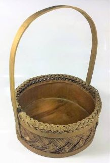 Wicker Woven Brown Basket Vintage Basket Country Wooden Cottage Decor