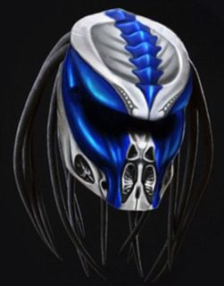 Purchase predator motorcycle helmet/blue grey look airbrushing motorcycle in Independence, Kentucky, US, for US $690.00