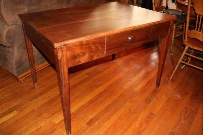 Antique writing desk with full depth drawer