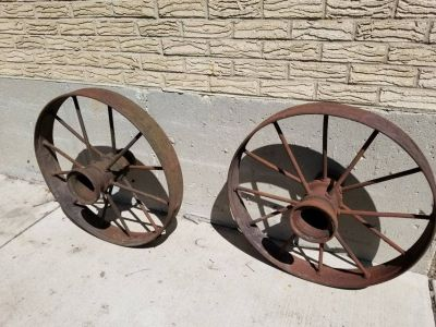 Vintage Two Pair Metal Tractor Wheels