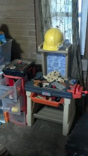 Tool bench, tools, hat, 3 drawer for tools, and fake lumber-take all