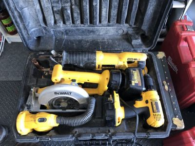 Dewalt Tool Set in Case - Battery Operated Saws, Drill, Flashlight, Battery, Charger