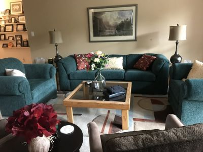Living room couch and two chairs