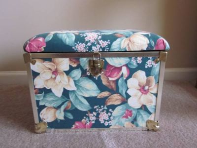 Green Flowered Small Storage Trunk