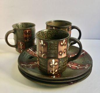 Set of 3 Handmade Ceramic Mugs & 3 Matching Plates