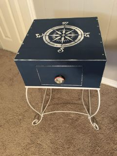 Wood and Metal Side/Accent Table with Drawer