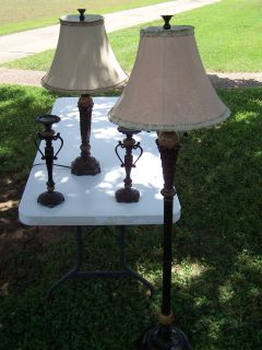 Table lamp, floor lamp, & (2) candle holders