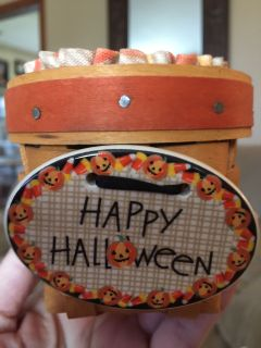 Candy corn longaberger basket with cloth and plastic liners
