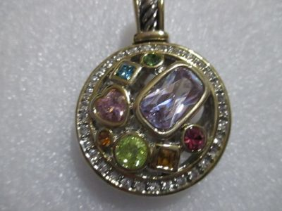 NWT SILVER TONE PENDANT WITH MULTI COLORED CRYSTAL