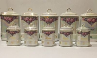 Antique 1918-1921 Czech 10 Piece Lusterware Porcelain Canister Set with Lids. Very Rare!