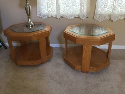 2 Oak end tables hexagon with beveled glass