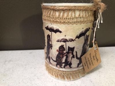 NWT! DECORATIVE TIN CAN/PEN CUP/MISC ORGANIZER (CATS)