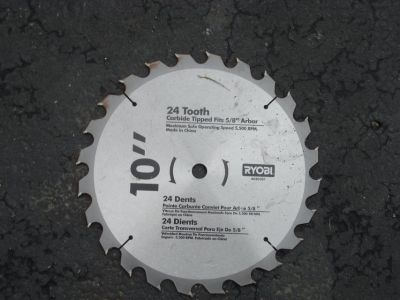 "24 TOOTH CARBIDE TIPPED 10 "" RYOBI SAW BLADE"