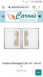 Pineapple life art golden frame