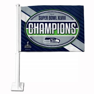 "*** SEATTLE SEAHAWKS ""Super Bowl XLVIII Champions"" Car Flag *** NEW"