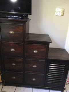 Solid wood antique storage cabinet