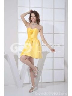 Massoo Daffodil Satin Princess Semi-formal Dress Short with Hand-made Flowers MS