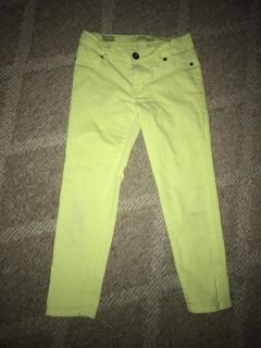 Cherokee size 10 stretchy cropped neon jeans