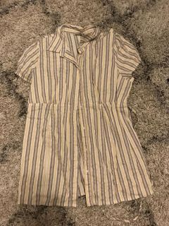 Yellow and brown striped maternity blouse, large
