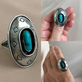 Silver turquoise ring sz 8