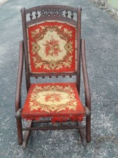 ANTIQUE ORNATE WOOD & NEEDLEPOINT ROCKING CHAIR