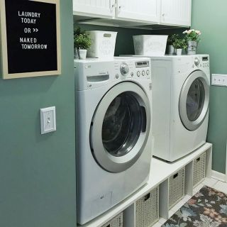 LG washer, dryer, custom pedestal