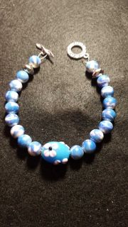 Beautiful handmade toggle clasp with beads bracelet 9 inches