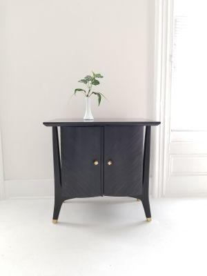 Set of Black Vintage MCM Walnut End Tables
