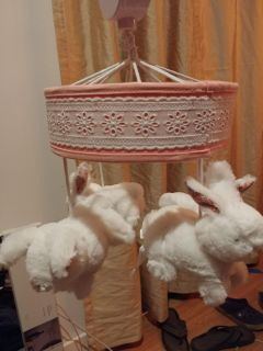 Bunny mobile with matching stuffed bear.