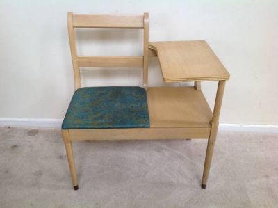 Maple and Green Upholstered Gossip Chair