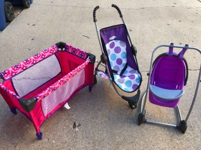 Baby doll stroller, swing and pack n play