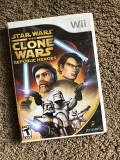 Nintendo Wii Game: Star Wars Clone Wars Republic Heroes, GUC, no booklet insert, $5. Porch pick up only.