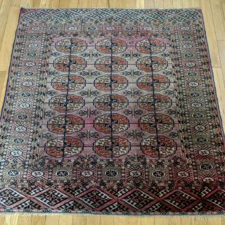 Antique Rug 3' 8 x 3' 10 Pink Bokhara Free Ship