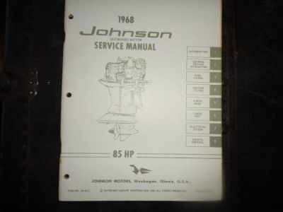Sell 1968 JOHNSON SERVICE MANUAL 85 HP MOTORS @@@CHECK THIS OUT@@@ motorcycle in Atlanta, Georgia, United States, for US $14.99