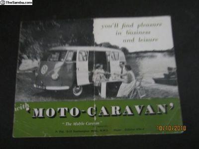 VW Bus ' Moto Caravan ' Pamphlet