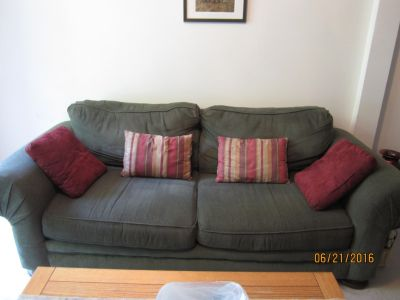 Hunter Green Couch and Chair with Ottoman
