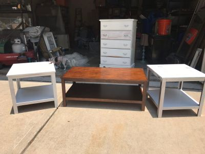 Coffee table and matching end tables Solid heavy ~ Project pieces