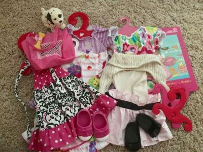 18 doll clothes & accessories and dog fits american girl and OG